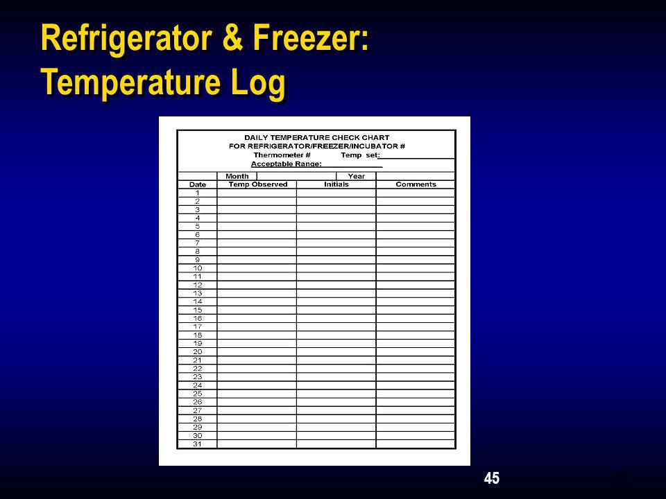 Refrigerator & Freezer: Temperature Log