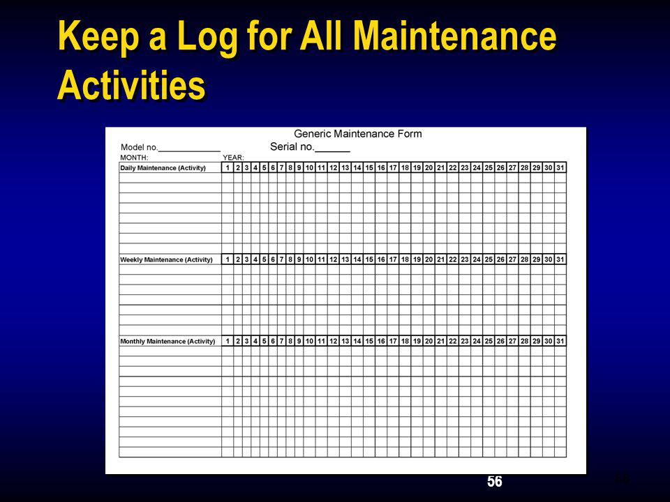 Keep a Log for All Maintenance Activities