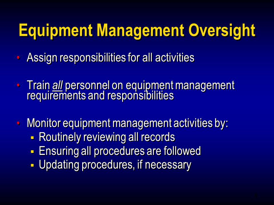 Equipment Management Oversight