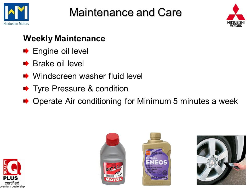Maintenance and Care Weekly Maintenance Engine oil level