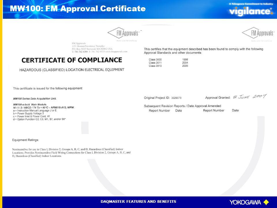 MW100: FM Approval Certificate