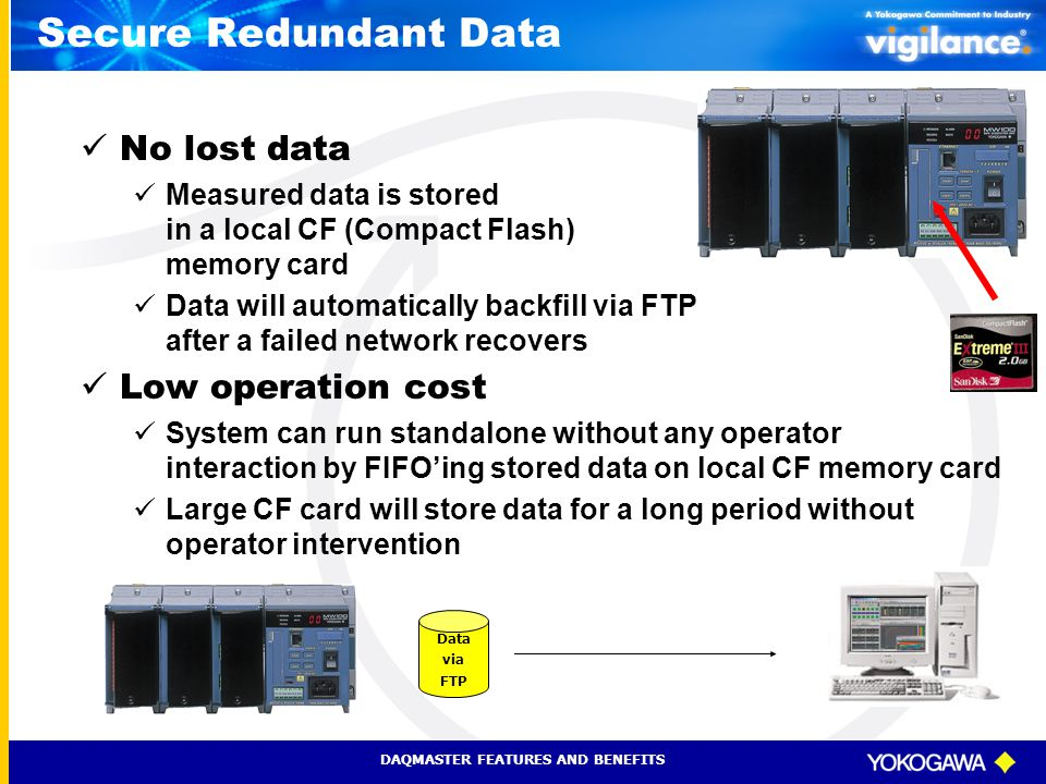 Secure Redundant Data No lost data Low operation cost