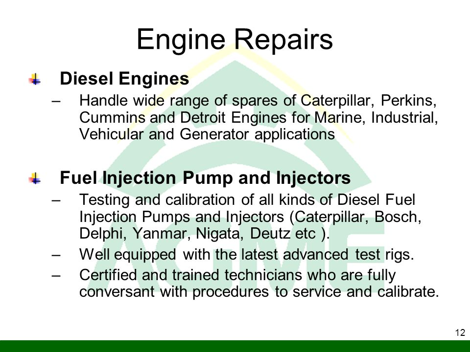 Engine Repairs Diesel Engines Fuel Injection Pump and Injectors