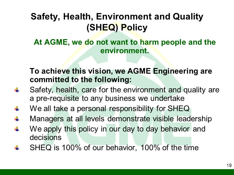 Safety, Health, Environment and Quality (SHEQ) Policy