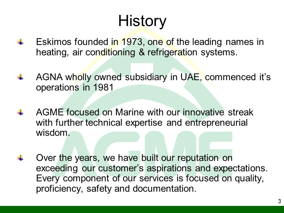 History Eskimos founded in 1973, one of the leading names in heating, air conditioning & refrigeration systems.