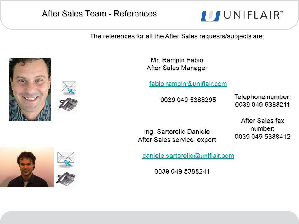 After Sales Team - References