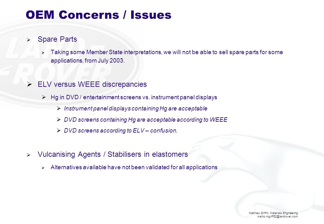 OEM Concerns / Issues Spare Parts ELV versus WEEE discrepancies