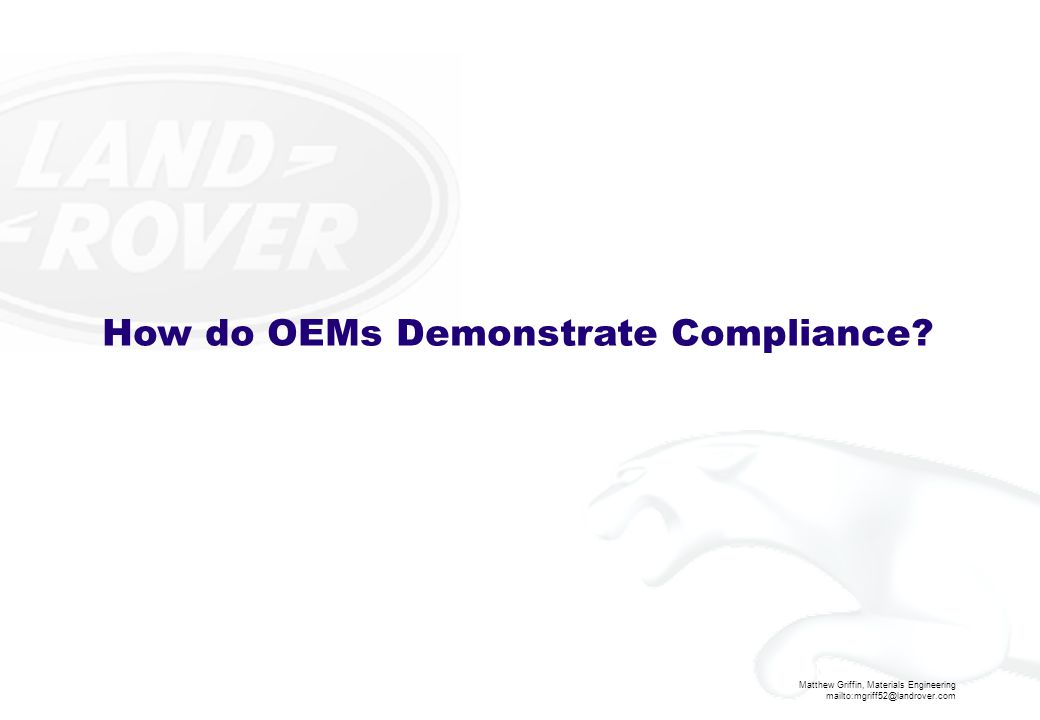 How do OEMs Demonstrate Compliance