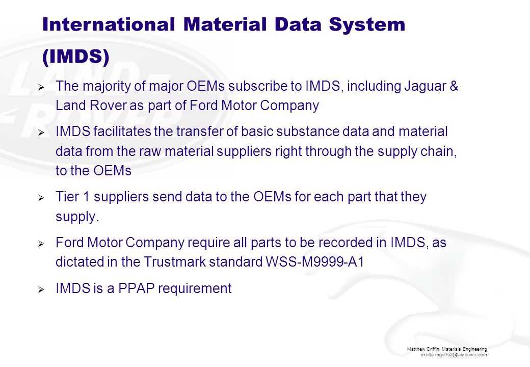 International Material Data System (IMDS)