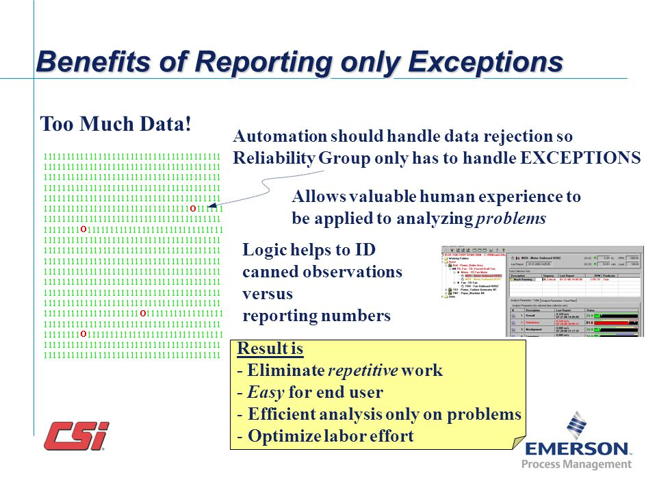 Benefits of Reporting only Exceptions
