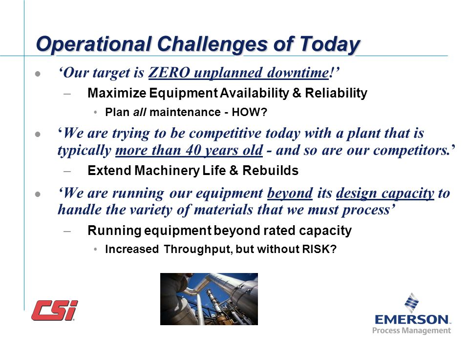 Operational Challenges of Today