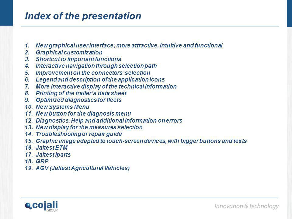 Index of the presentation