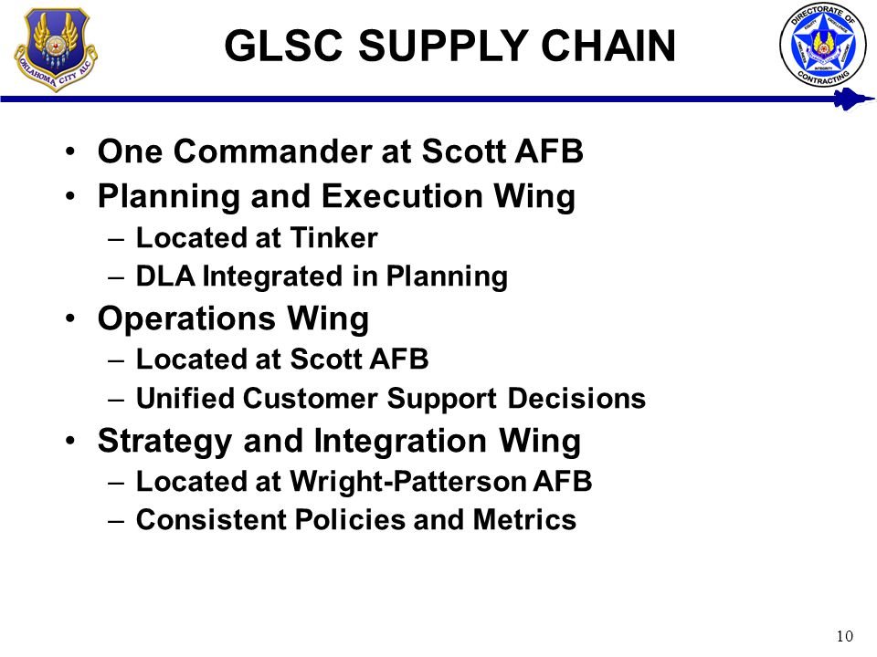 GLSC SUPPLY CHAIN One Commander at Scott AFB