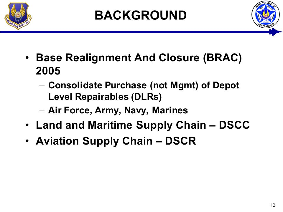BACKGROUND Base Realignment And Closure (BRAC) 2005
