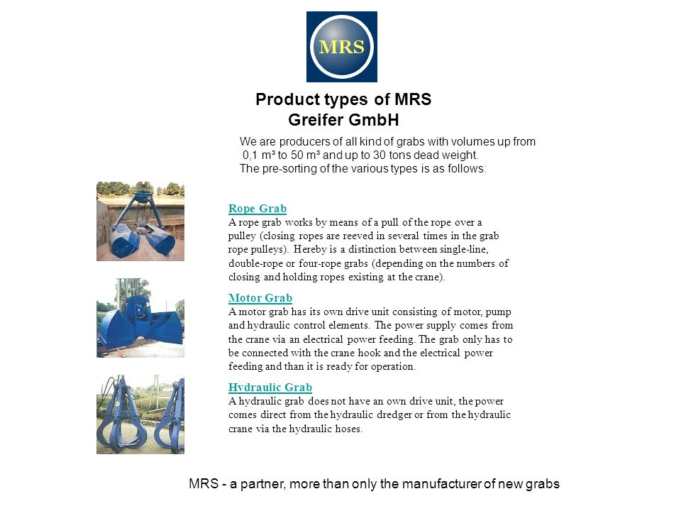 Product types of MRS Greifer GmbH