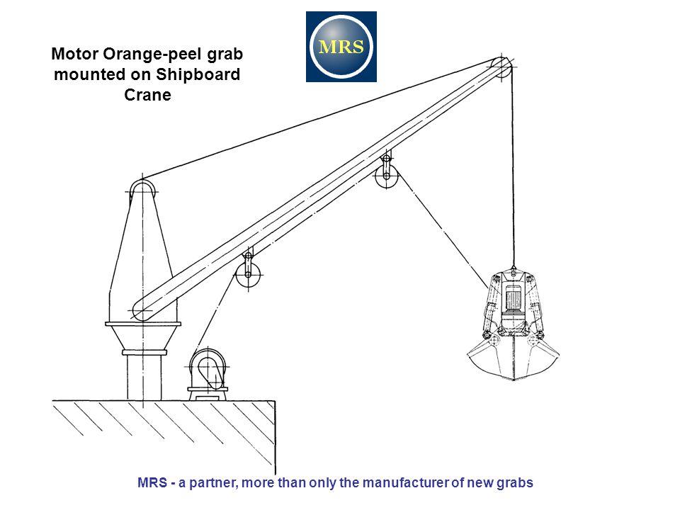 Motor Orange-peel grab mounted on Shipboard Crane