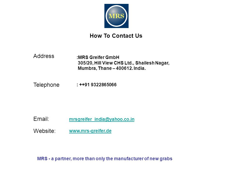 Address How To Contact Us Telephone Email: Website: