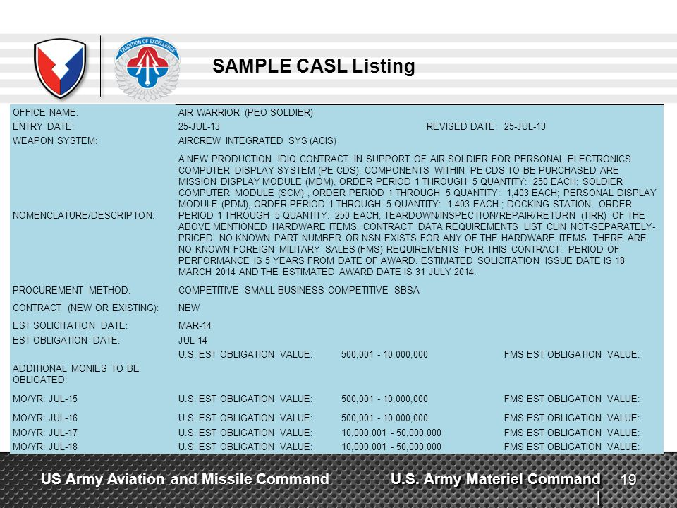 SAMPLE CASL Listing OFFICE NAME: AIR WARRIOR (PEO SOLDIER) ENTRY DATE: