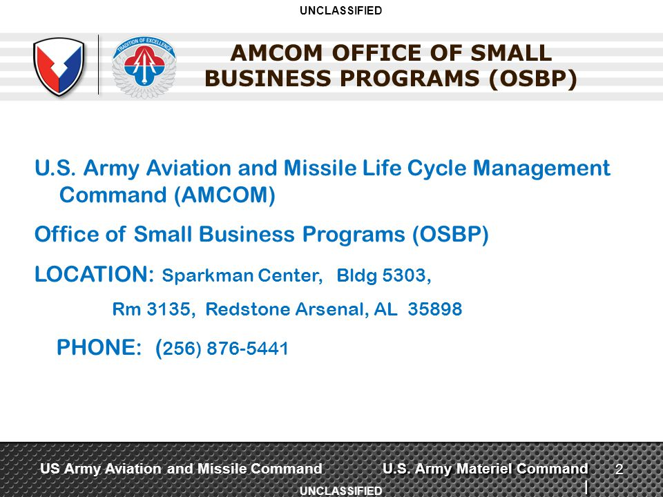 AMCOM OFFICE OF SMALL BUSINESS PROGRAMS (OSBP)