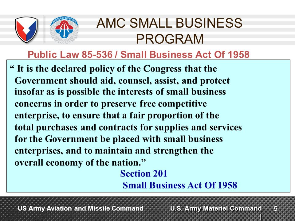 AMC SMALL BUSINESS PROGRAM