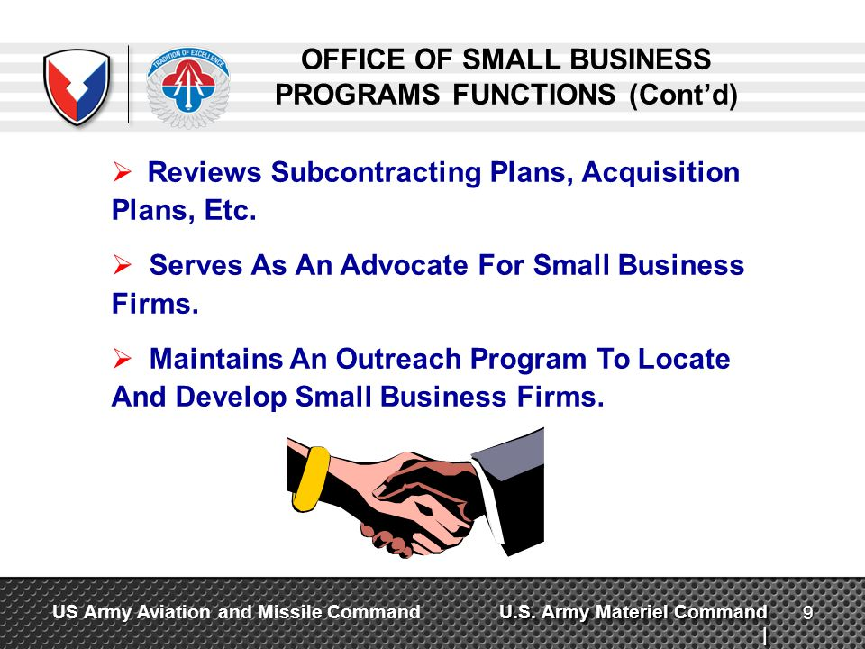 OFFICE OF SMALL BUSINESS PROGRAMS FUNCTIONS (Cont'd)