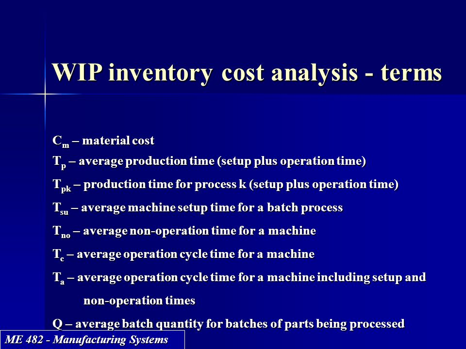 WIP inventory cost analysis - terms