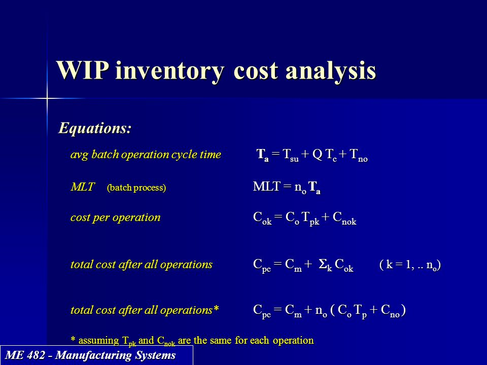 WIP inventory cost analysis