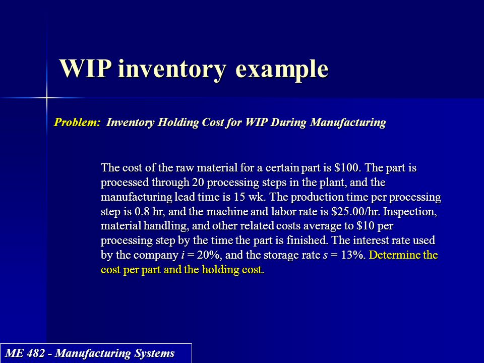 WIP inventory example Problem: Inventory Holding Cost for WIP During Manufacturing.