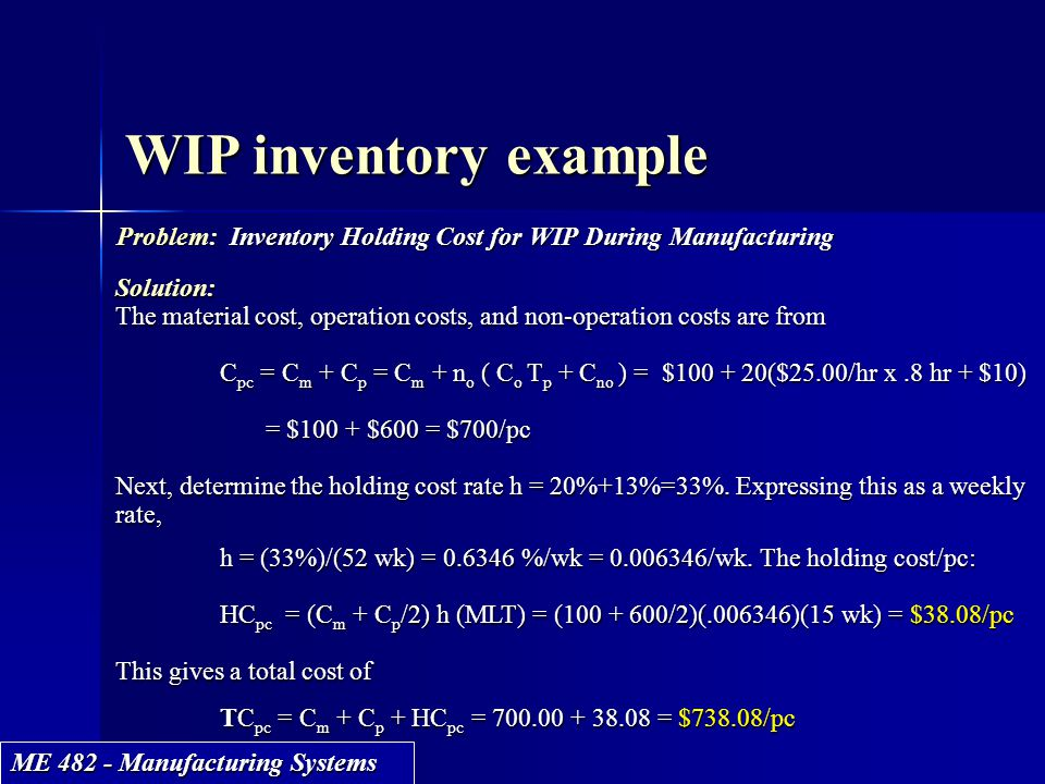 WIP inventory example Problem: Inventory Holding Cost for WIP During Manufacturing. Solution:
