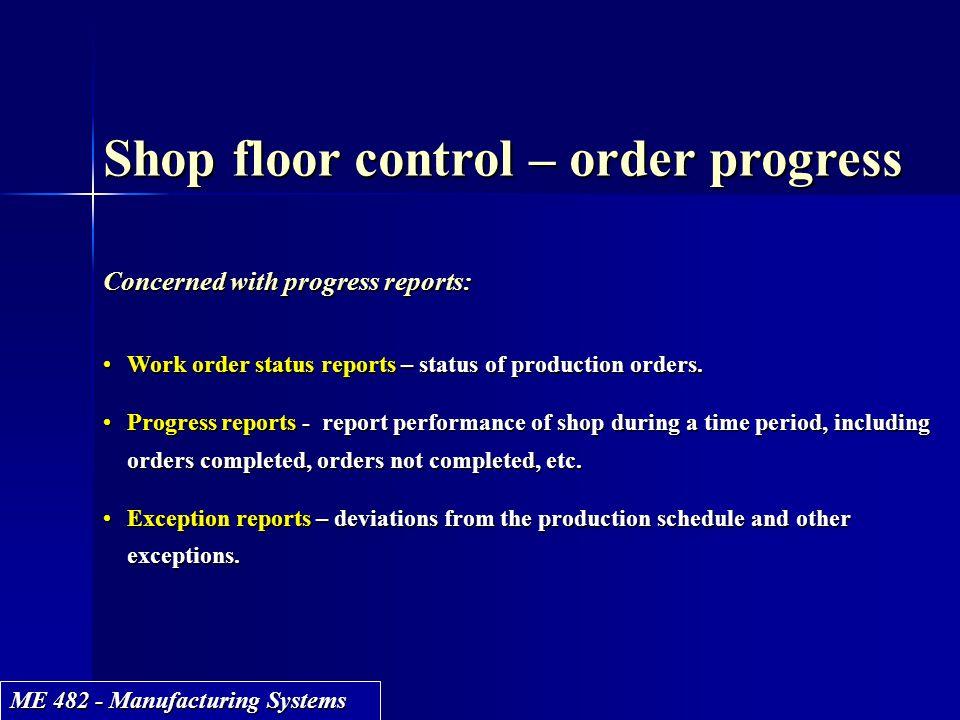 Shop floor control – order progress