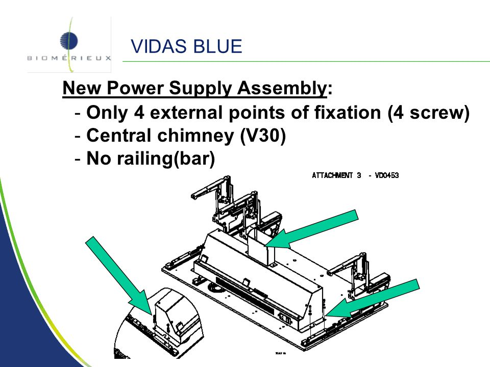 VIDAS BLUE New Power Supply Assembly: Only 4 external points of fixation (4 screw) Central chimney (V30)
