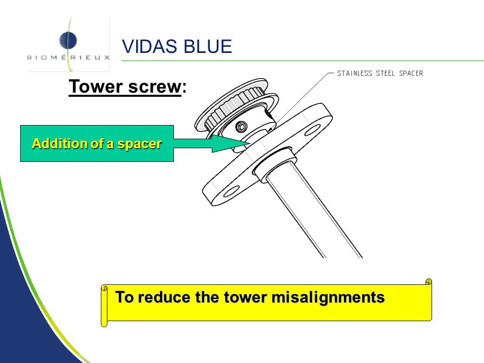 VIDAS BLUE Tower screw: To reduce the tower misalignments