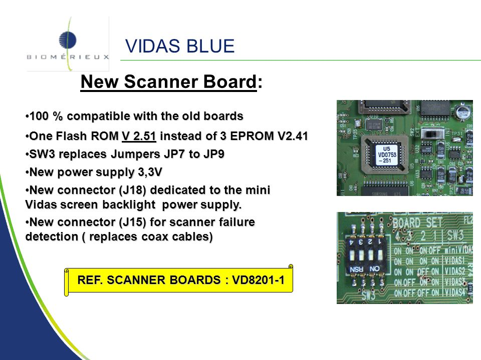 VIDAS BLUE New Scanner Board: 100 % compatible with the old boards