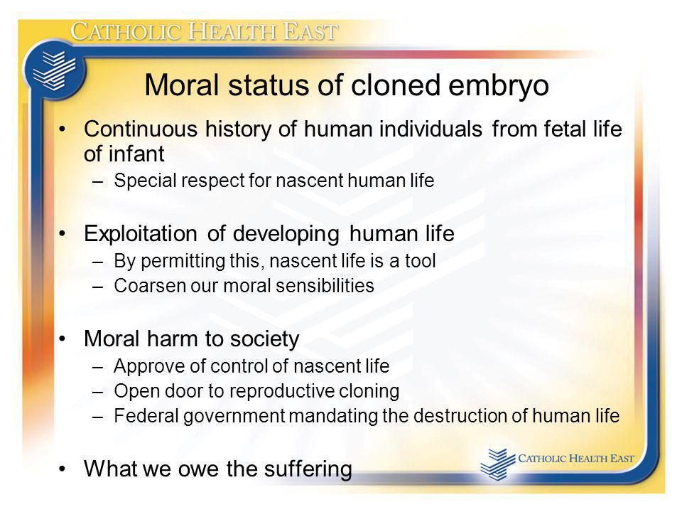 Moral status of cloned embryo