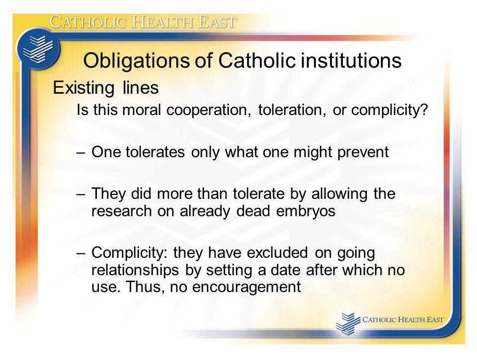 Obligations of Catholic institutions