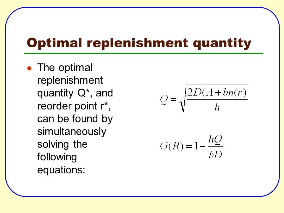 Optimal replenishment quantity
