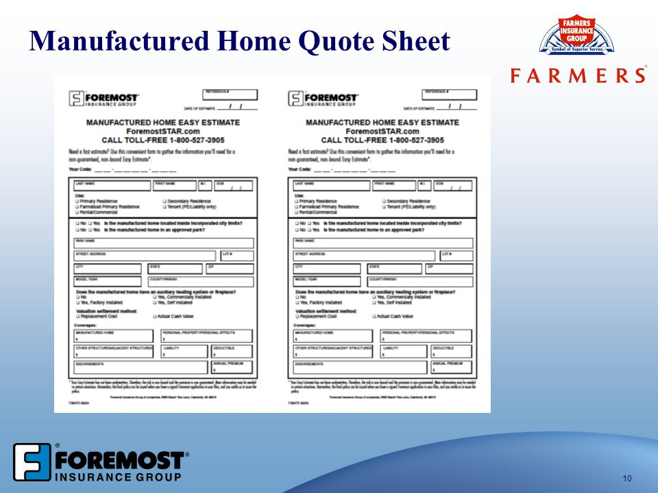 Manufactured Home Quote Sheet