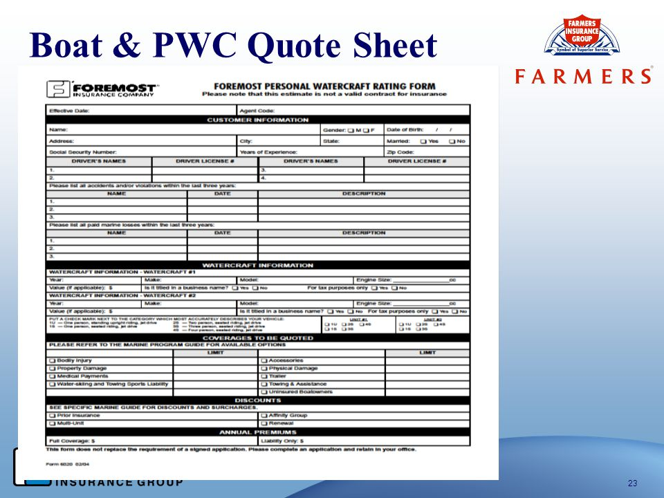 Boat & PWC Quote Sheet