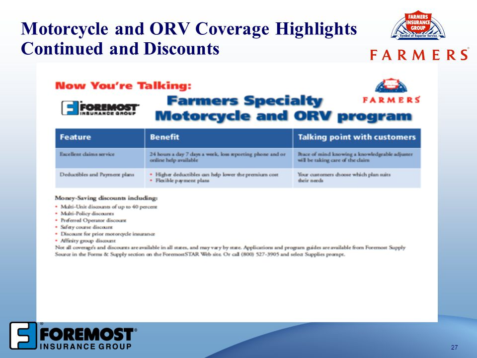 Motorcycle and ORV Coverage Highlights Continued and Discounts