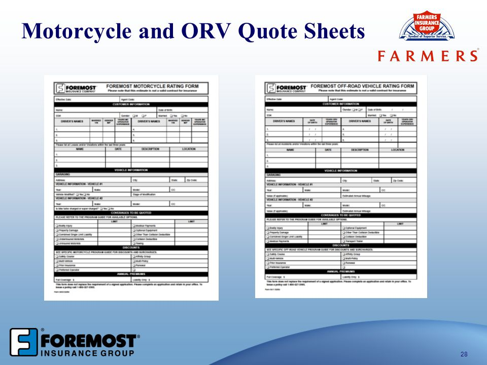 Motorcycle and ORV Quote Sheets