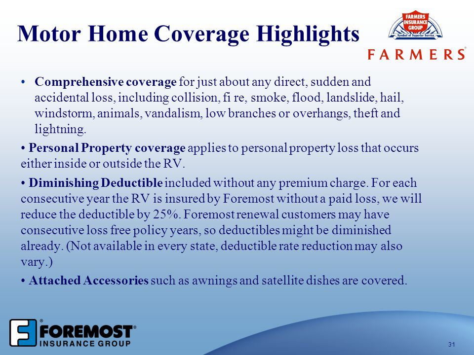 Motor Home Coverage Highlights