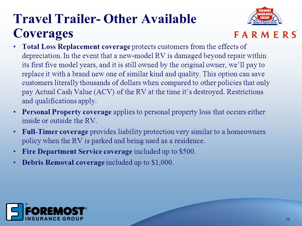 Travel Trailer- Other Available Coverages