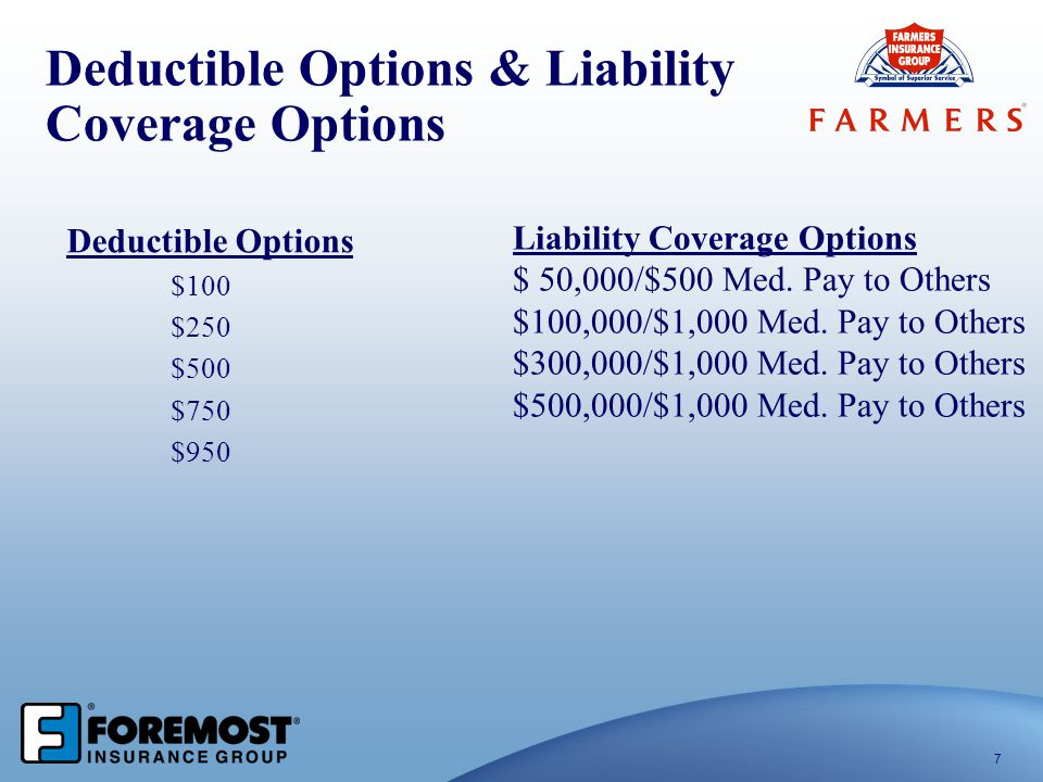 Deductible Options & Liability Coverage Options
