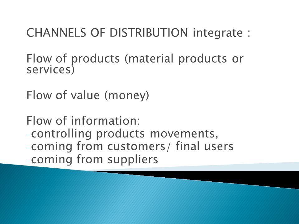 CHANNELS OF DISTRIBUTION integrate :