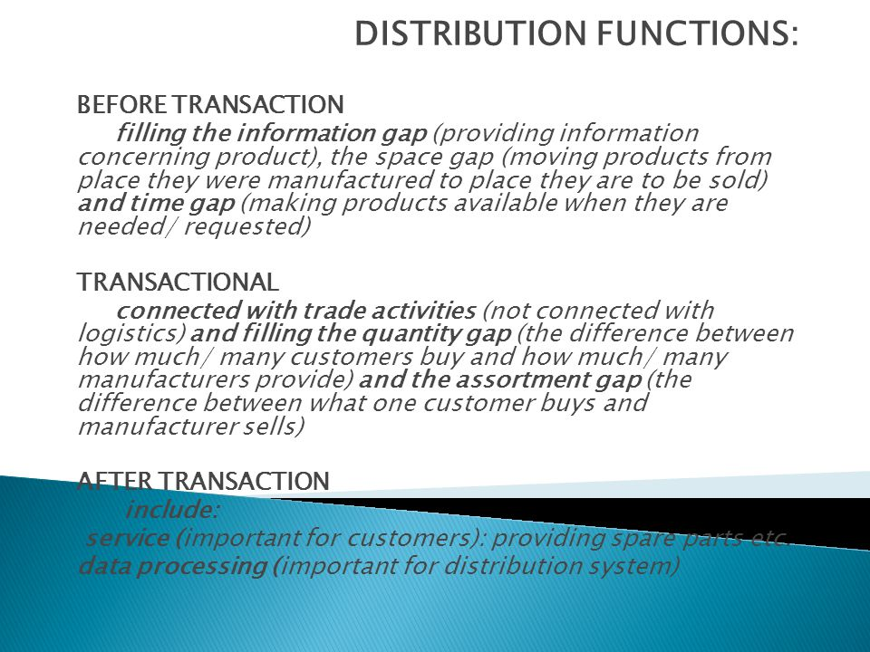 DISTRIBUTION FUNCTIONS: