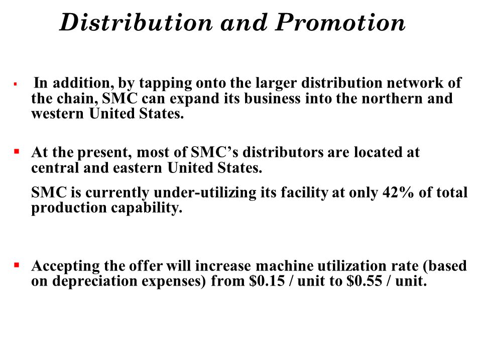 Distribution and Promotion