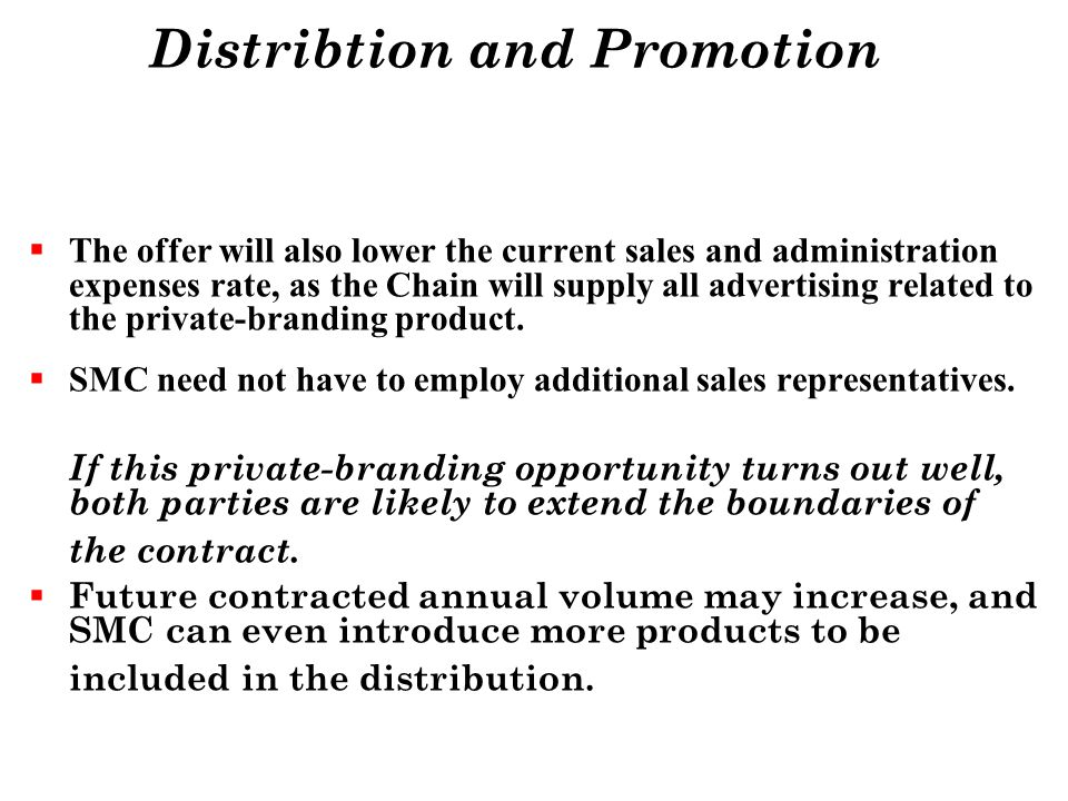 Distribtion and Promotion
