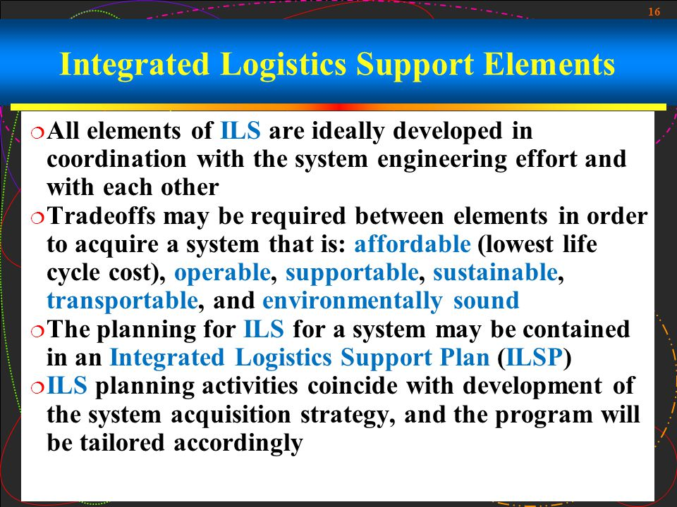 Integrated Logistics Support Elements