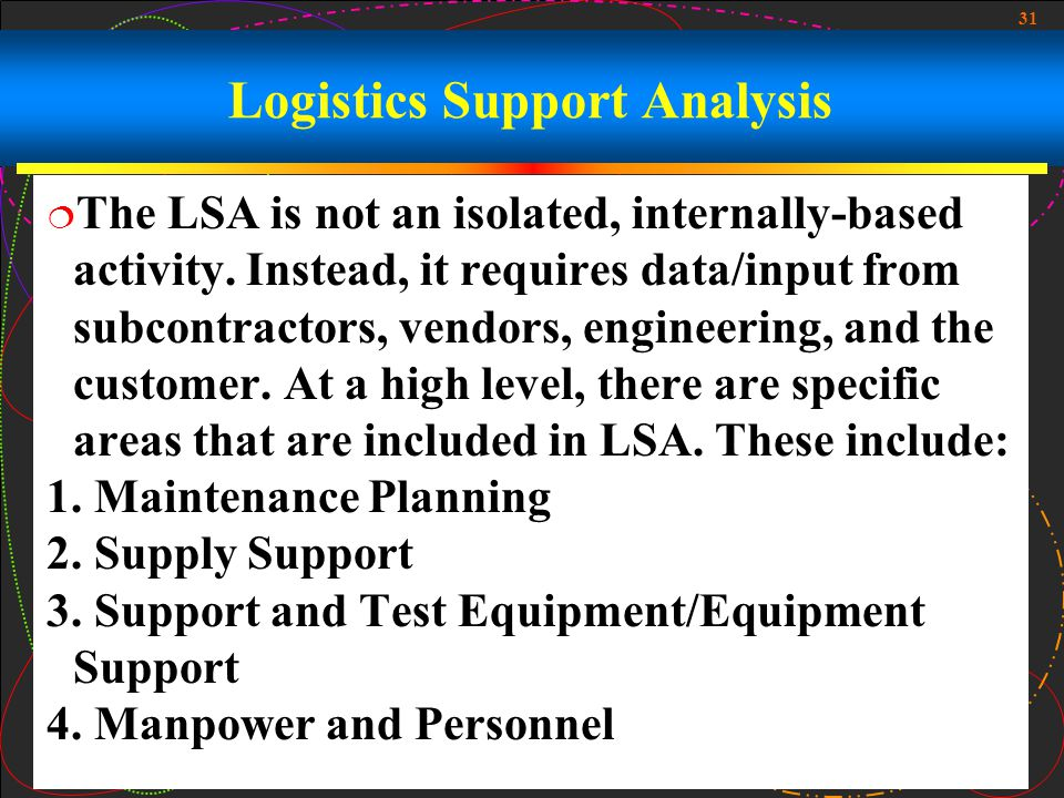 Logistics Support Analysis
