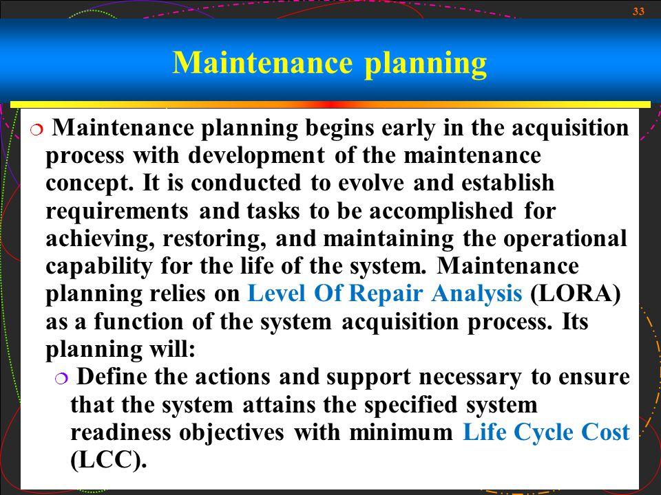 Maintenance planning